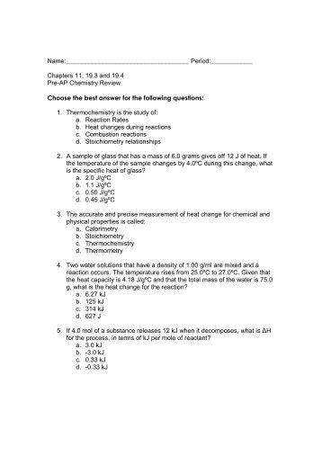 chapter 11 chemical reactions study guide answers